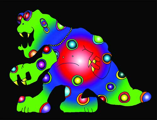 Dinosaur Digital Art Work by Mystic Monk Cartoons