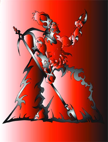 Red Guy with Spear Digital Art by Mystic Monk Cartoons